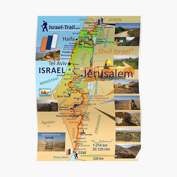 Israel National Trail Map, Shvil Israel Map Poster