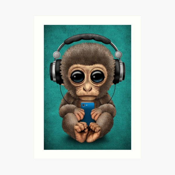 Cute Baby Monkey With Cell Phone Wearing Headphones Blue Art Print