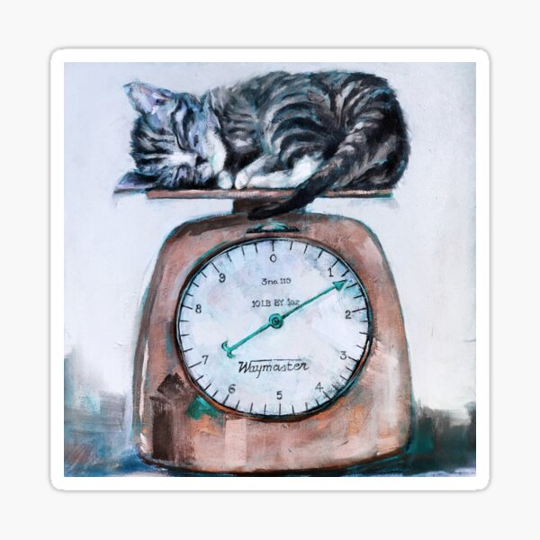 Painting of Kitten asleep on vintage copper Scale Sticker