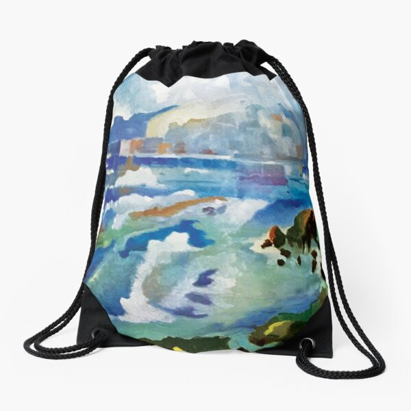 Mediterranean Coast Drawstring Bag