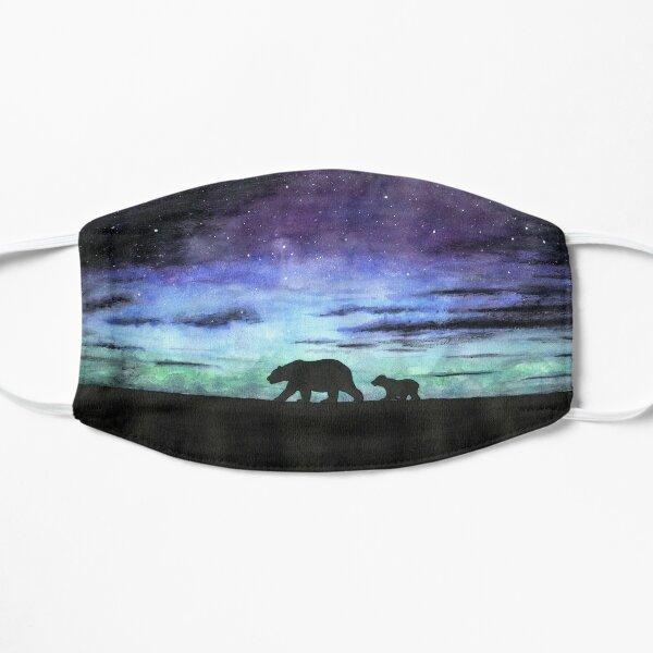 Aurora borealis and polar bears (dark version) Flat Mask