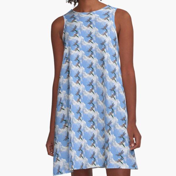 Dragonflies Blue Skies A-Line Dress