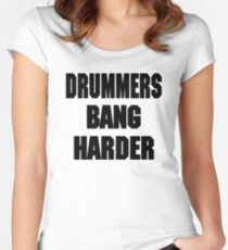 DRUMMERS BANG HARDER (DAVE GROHL, TAYLOR HAWKINS) Women's Fitted Scoop T-Shirt
