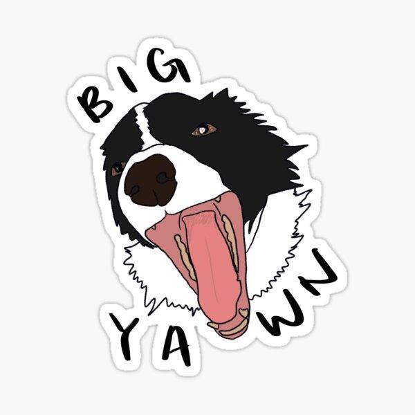 border collie big yawn Sticker