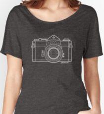 Asahi Pentax 35mm Analog SLR Camera Line Art Graphic White Outline Women's Relaxed Fit T-Shirt
