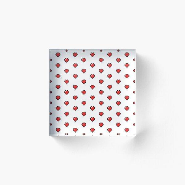 Cute Retro Gaming Hearts Acrylic Block