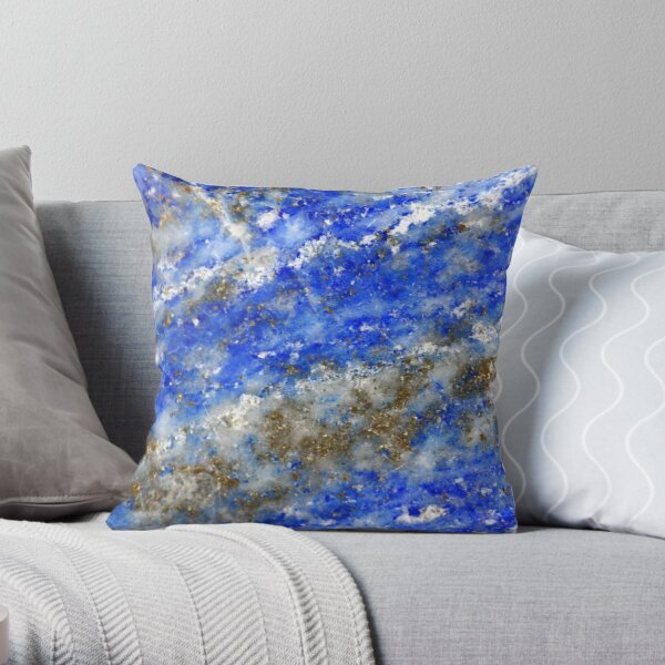 Lapis Lazuli blue and gold abstract geode texture Throw Pillow