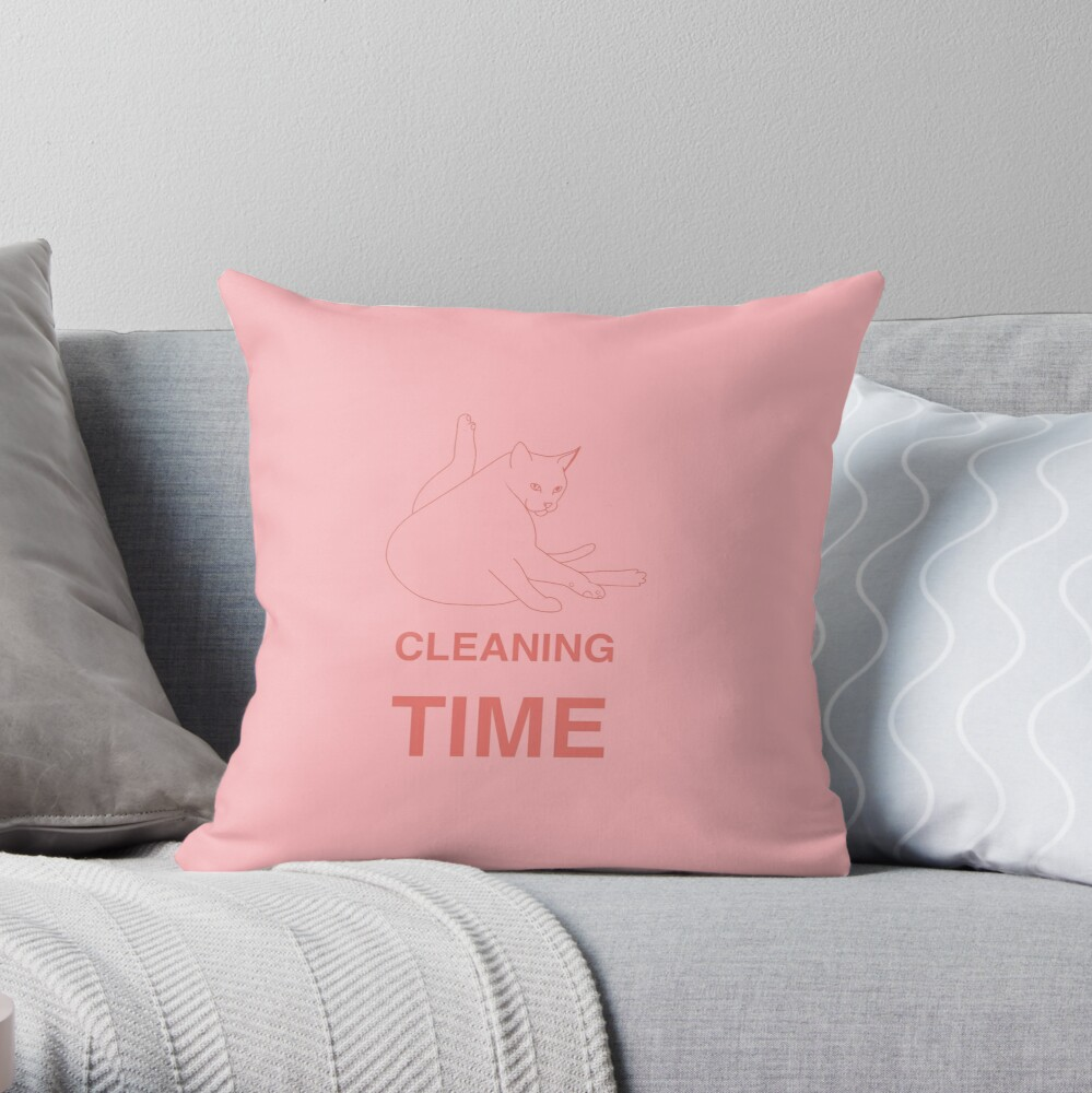 Cat cleaning time message Throw Pillow