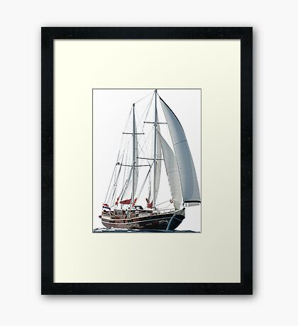 Turkish Gulet Under Sail Isolated On White Framed Print