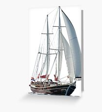 Turkish Gulet Under Sail Isolated On White Greeting Card