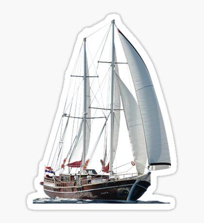 Turkish Gulet Under Sail Isolated On White Sticker