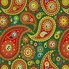 Colorful pastel tones retro paisley pattern by artonwear