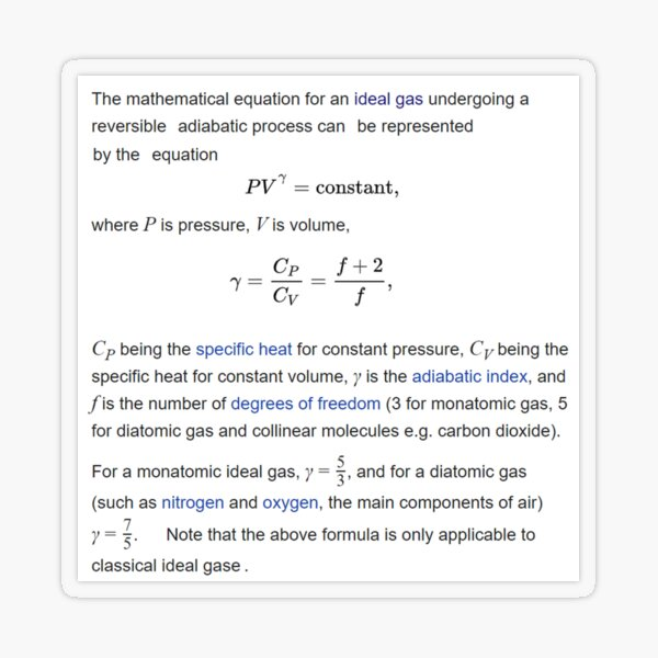 Adiabatic Gas Properties Transparent Sticker