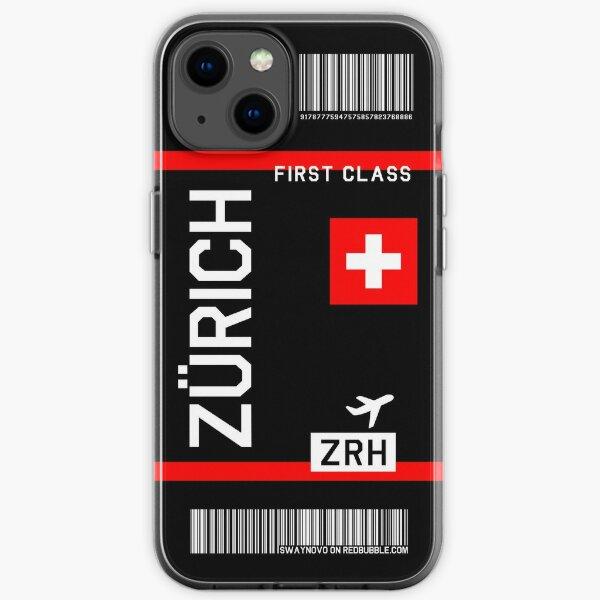 Flight Ticket Zurich in black iPhone Soft Case