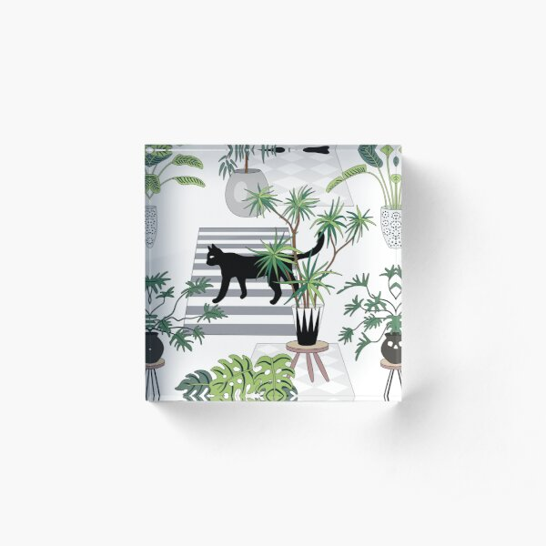 cats in the interior pattern Acrylic Block