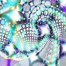 Blue and white tones ornate fractal abstract design by artonwear
