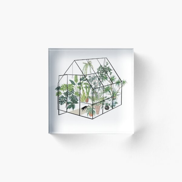greenhouse with plants Acrylic Block