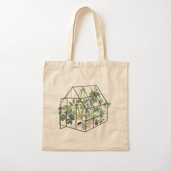 greenhouse with plants Cotton Tote Bag