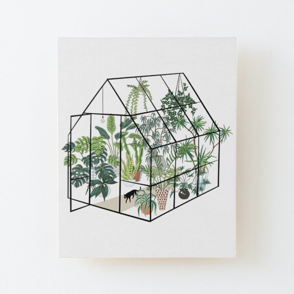 Gewächshaus mit Pflanzen Aufgezogener Druck auf Holz