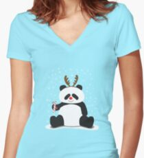 Merry Christmas, Panda! Women's Fitted V-Neck T-Shirt