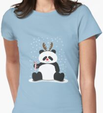 Merry Christmas, Panda! Womens Fitted T-Shirt