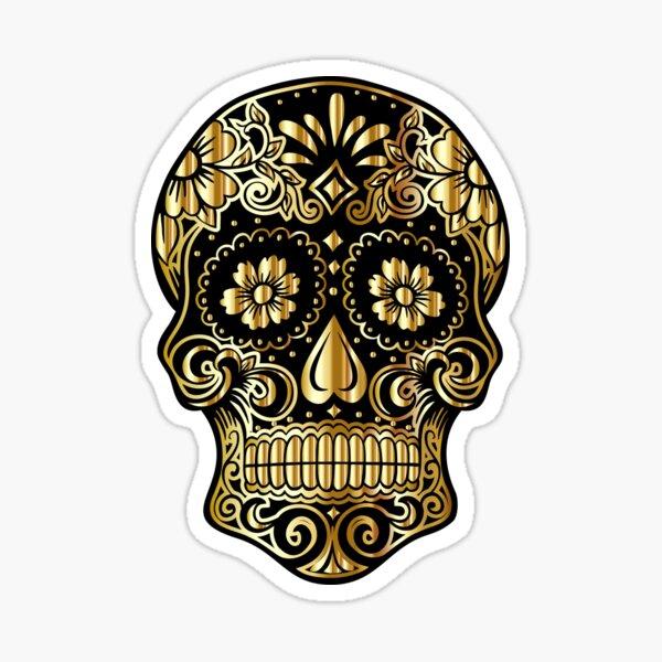 Black and Gold Skull Sticker