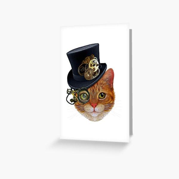 Chat orange avec chapeau Steampunk et Monocle Carte de vœux