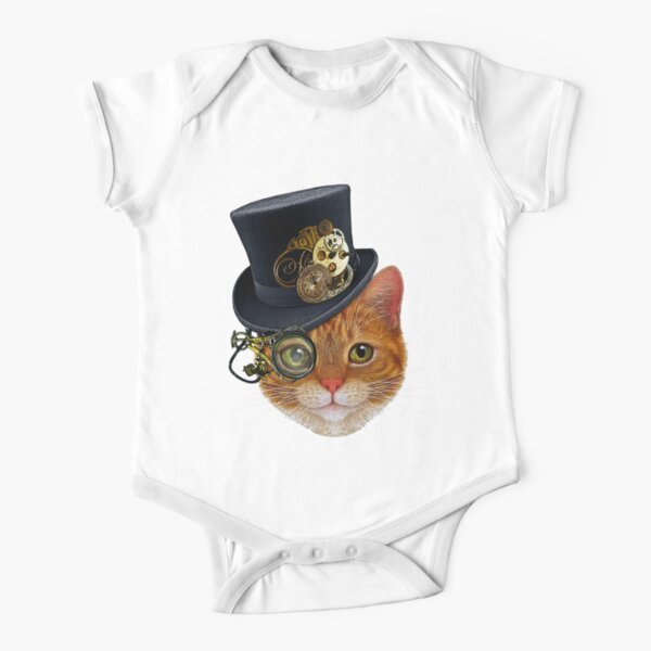 Orange Cat with Steampunk Hat and Monocle Short Sleeve Baby One-Piece