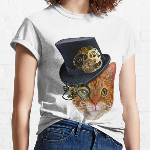 Orange Cat with Steampunk Hat and Monocle Classic T-Shirt