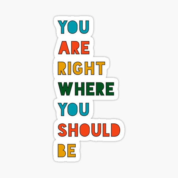 You are right where you should be  Sticker