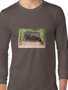 Six Rottweiler Puppies Lined Up On A Swing T-Shirt