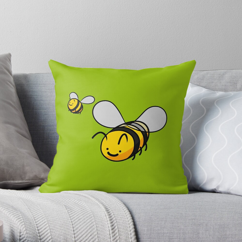 Cheerful Bees Throw Pillow