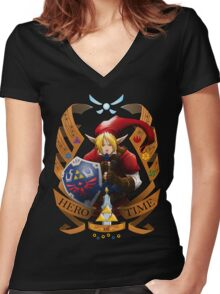 Hero of Time (Red) Women's Fitted V-Neck T-Shirt