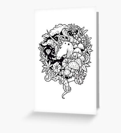 - Magical Unicorn BW - Greeting Card