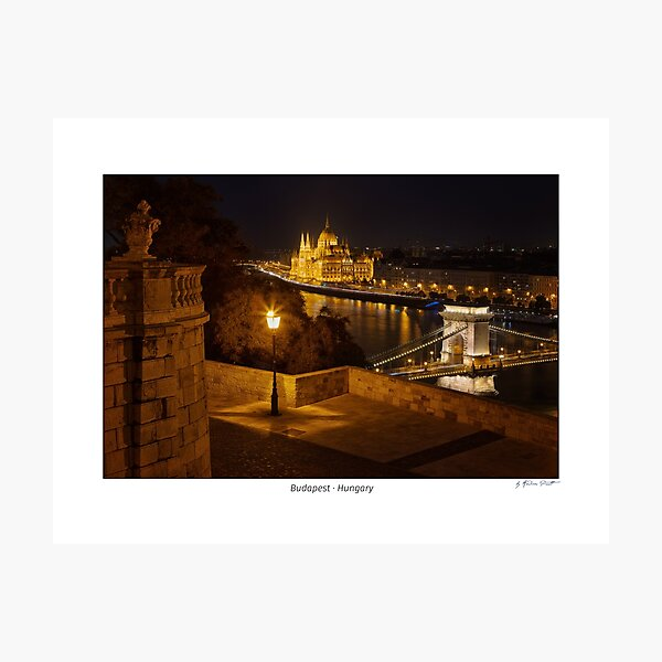 Looking down to the Danube river with parliament building and chain bridge in Budapest, Hungary Photographic Print
