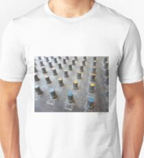 closeup on a sliders of a mixing console T-Shirt