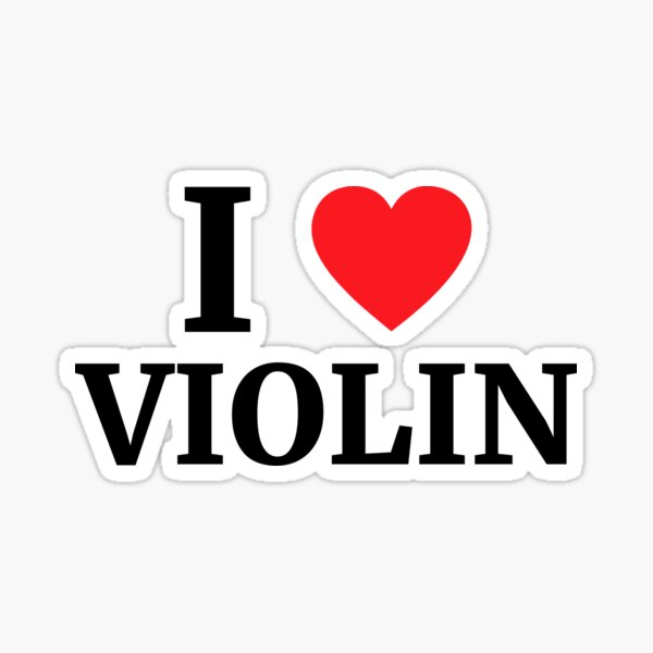 I Love Violin Heart  Sticker