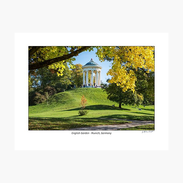 Monopteros building in the English Garden in Munich in autumn.  Photographic Print