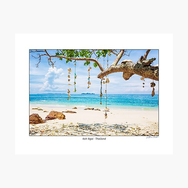 Empty dream Beach with white sand on the island of Koh Ngai, Thailand.  Photographic Print