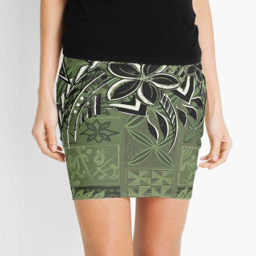 Vintage Olive Hawaiian Tribal Petrogyph Pattern Mini Skirt