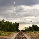 Lightning Striking By The Train Tracks by Bo Insogna