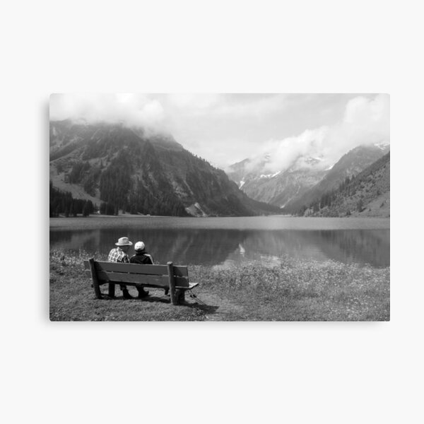 Conversation on a bench Metal Print