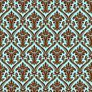 Brown And Blue Vintage Damasks Pattern by artonwear