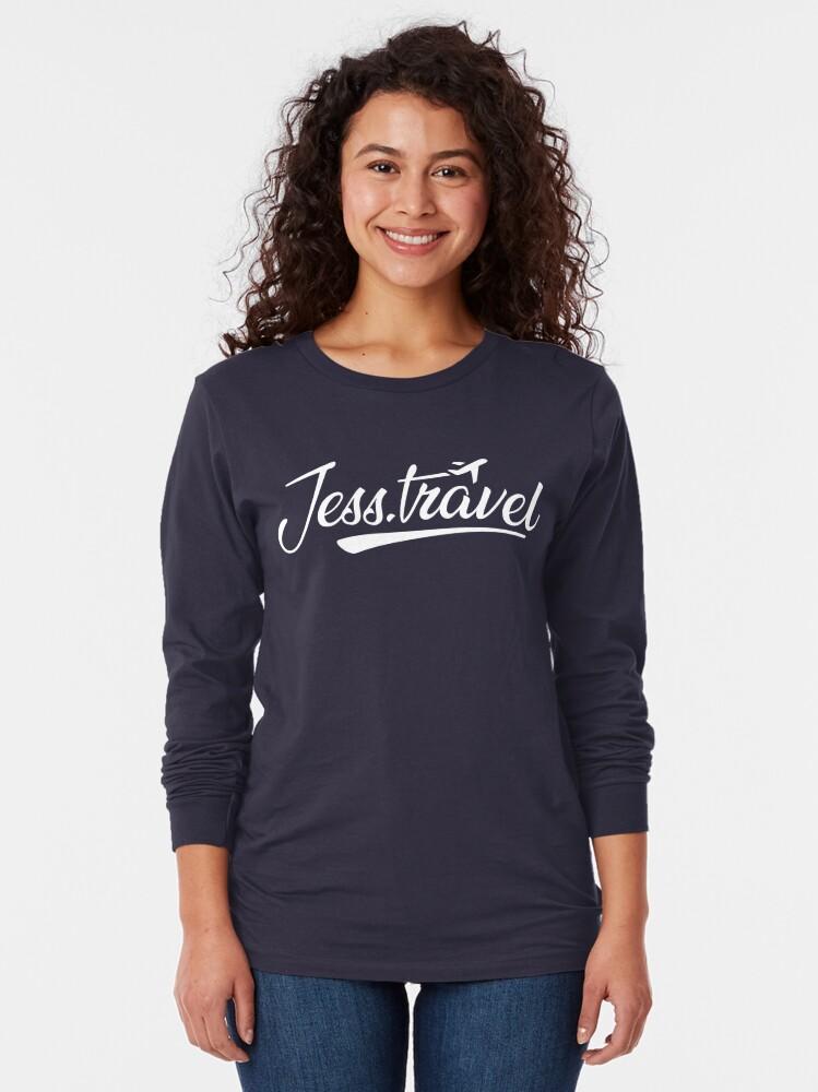 Alternate view of Jess.Travel White Logo Long Sleeve T-Shirt