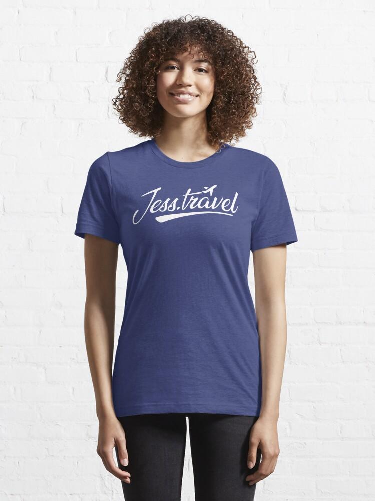 Alternate view of Jess.Travel White Logo Essential T-Shirt