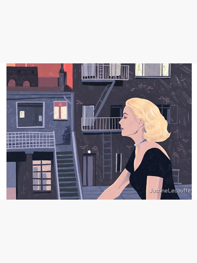 Rear Window - Pencil illustration Hitchcock fan art by JustineLecouffe