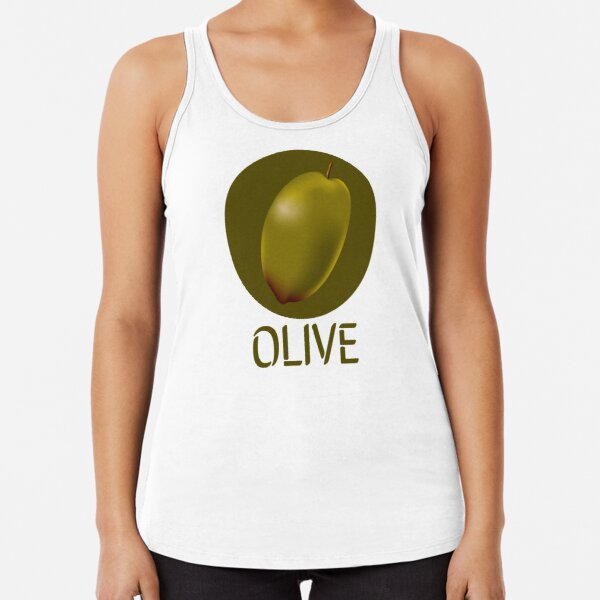 Green Olive Textured Graphic Illustration Racerback Tank Top