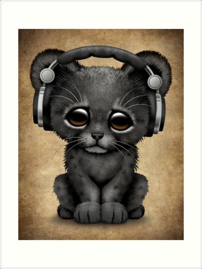 Cute Black Panther Cub Dj Wearing Headphones  by jeff bartels