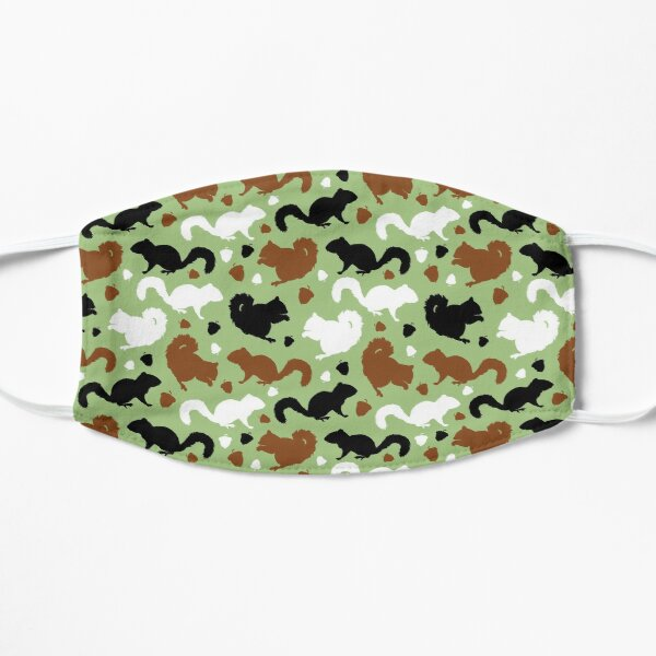 Squirrels Pattern in Green Red Squirrels Black Squirrel Repeating Patterns Flat Mask