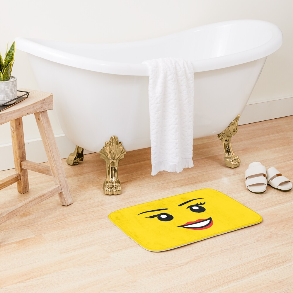 Cute Female Minifigure Face Funny AFOL Bath Mat